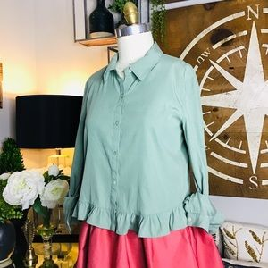 Zara women's green crop top Sz small NWT